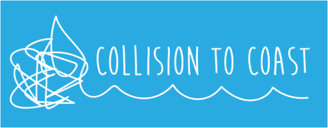 Collision to Coast blue background